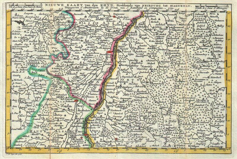 1747 La Feuille Map of Alsace, France