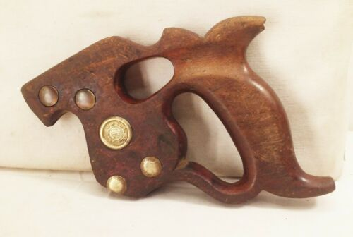 Vtg antique Disston D8 finger thumb hole crosscut rip handsaw wood handle