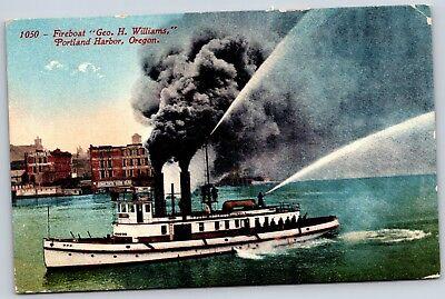 Vintage Postcard Portland Harbor Fire Boat Geo H Williams Fireman OR Oregon A09