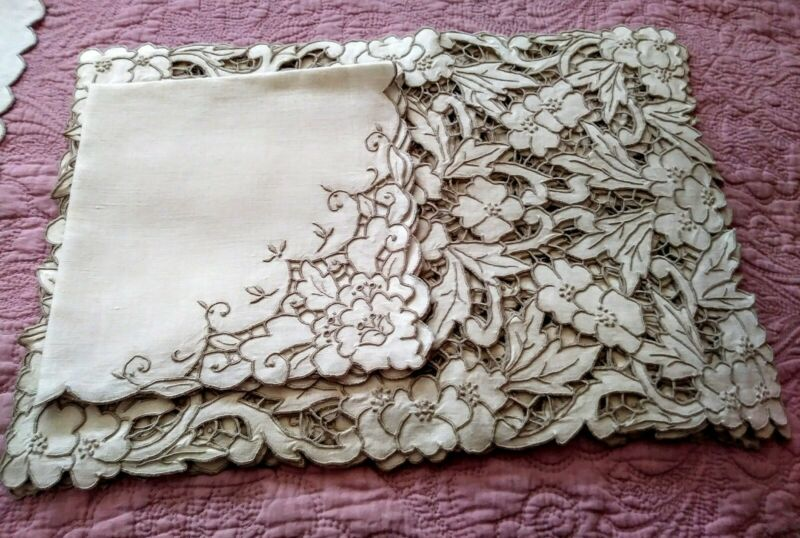 Set - 6 Exquisite Embroidered & Cutwork Madeira Floral Linen Placemats & Napkins