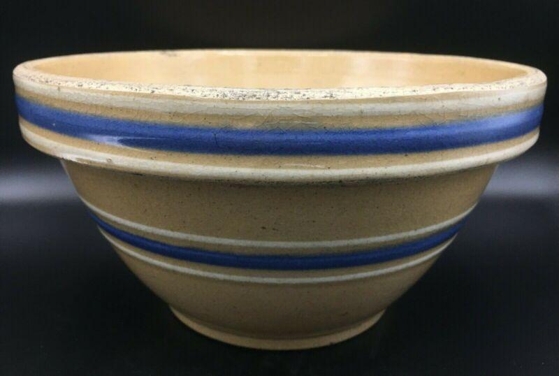 Antique Primitive Farmhouse Yellow Ware Blue & White Banded #9 Oven Ware Bowl