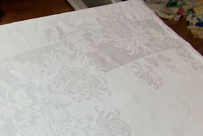 70X179 Vintage Antique ELEGANT FORMAL White IRISH LINEN DOUBLE DAMASK Tablecloth