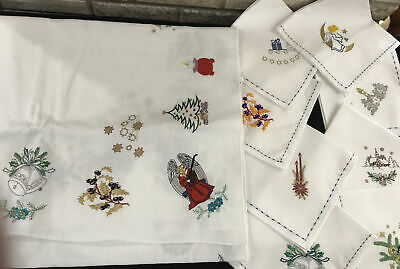 Queens Linen Embroidered Christmas table cloth 60x72 and 8 napkins Made USA