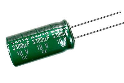 New 10pcs Sanyo Ag 3300uf 10v 105c Radial Electrolytic Capacitor