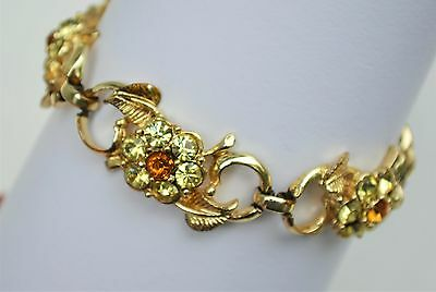 Vintage signed Coro topaz & champange rhinestone flower bracelet
