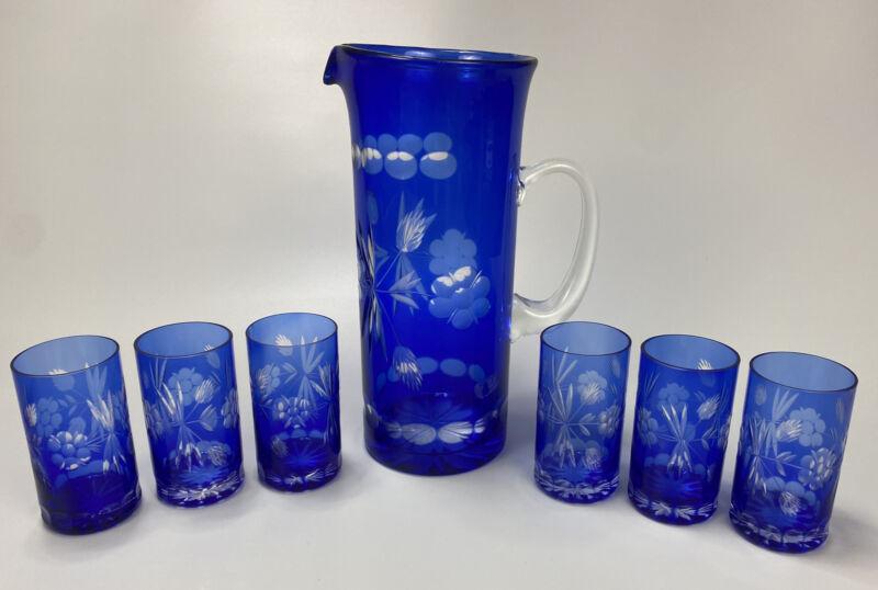 Bohemian Czech Crystal, Cobalt Blue Cut To Clear Glass Pitcher & 6 Juice Glasses