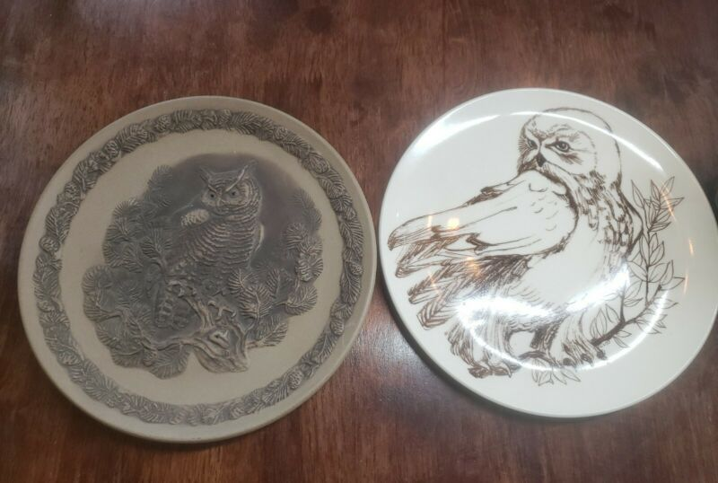 VINTAGE POOLE ENGLAND LIMITED EDITION GREAT HORNED OWL CERAMIC BIRD PLATE DECOR