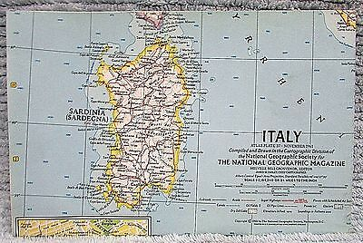 Old 1961 National Geographic Vintage Map Italy FREE S/H