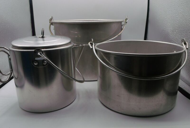 Camping Pots and Hot Water Coffee Pot Aluminum Stainless Steel Set of 3