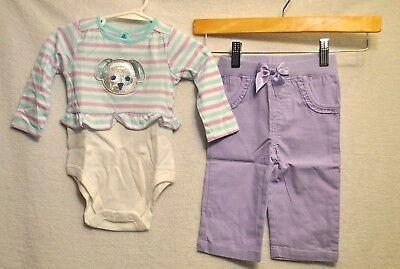 NEW GARANMALS Girls Dog One Piece Bodysuit Purple Pants Outfit Set Sz 6-9 Mo