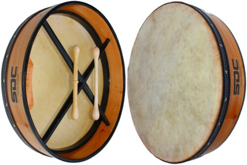 BODHRAN DRUM Irish Celtic 18 Inch Adult Size Drum + CASE + 2 Tippers NATURAL