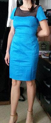 New UK10 gorgeous CLOSET blue & black lace pencil occasion midi cotton dress £52