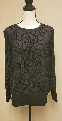 NWT Fabletics sz L Lola long sleeve stretch black floral