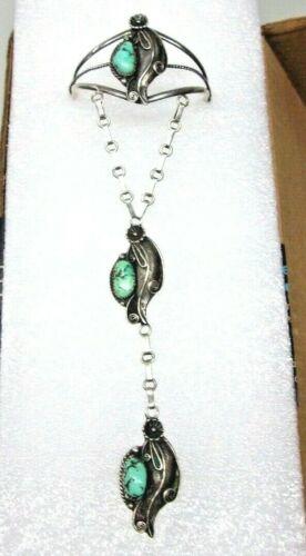 Vintage Navajo Sterling Silver Turquoise Bracelet Ring Slave Chain, E-L,