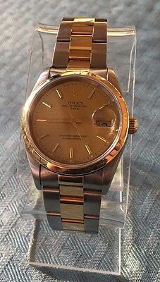 Rolex Date 18k Gold & Steel 15223 34mm Champagne Dial Oyster Band Two-Tone