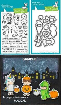 Lawn Fawn COSTUME PARTY Clear Stamps & Lawn Cuts Die Set LF1458 LF1459 Halloween](Fawn Costume Halloween)
