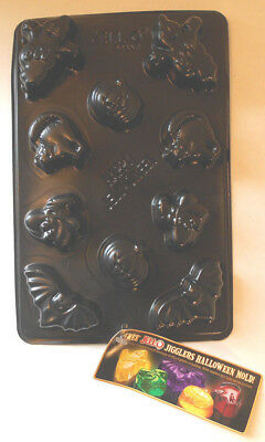 Halloween Jello Mold Recipes (UNUSED Jiggler Halloween Mold w BLACK JELLO RECIPE-Ghost Pumpkin Cat Bat)