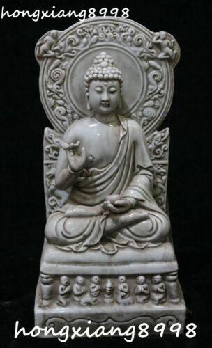"""13"""" China Dehua Porcelain Shakyamuni Sakyamuni Amitabha Buddha Bowl Statue"""