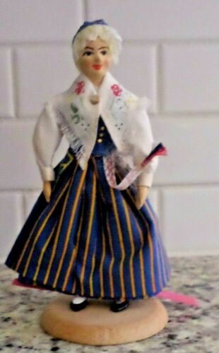Vintage Antique Hand Made Finnish Girl Doll on stand