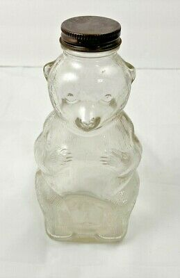 Vintage Snow Crest LUCKY JUMBO ROOT BEER Syrup Glass Bear Jar Bottle w Solid Lid