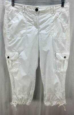 Tommy Hilfiger Pants 12 White Cargo Cropped Mid Rise Pockets Womens 5778