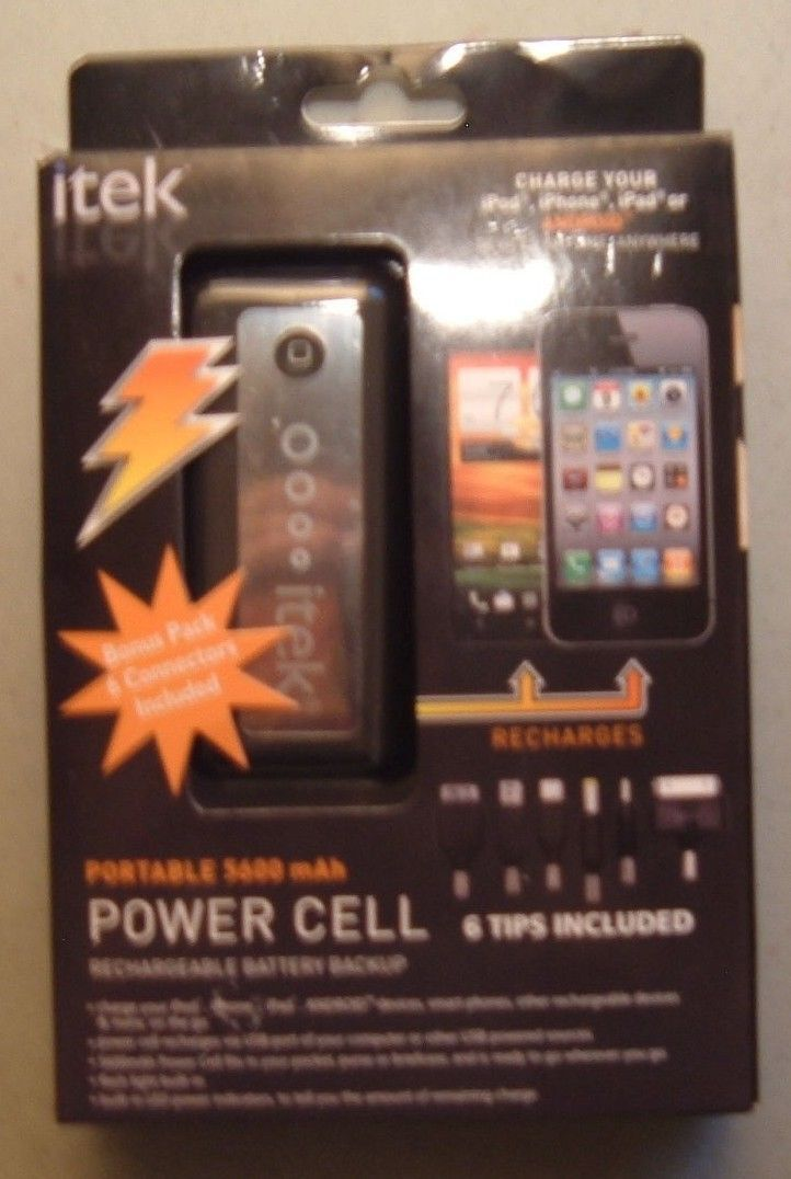 ITEK PORTABLE 5600 mAh POWER CELL rechargeable battery w built in flash light
