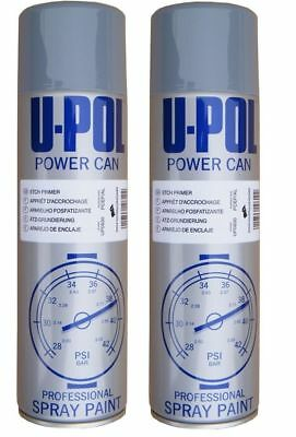 2x U-POL Grey Can Metal Etch Primer Aerosol 500ml Spray Paint Professional New