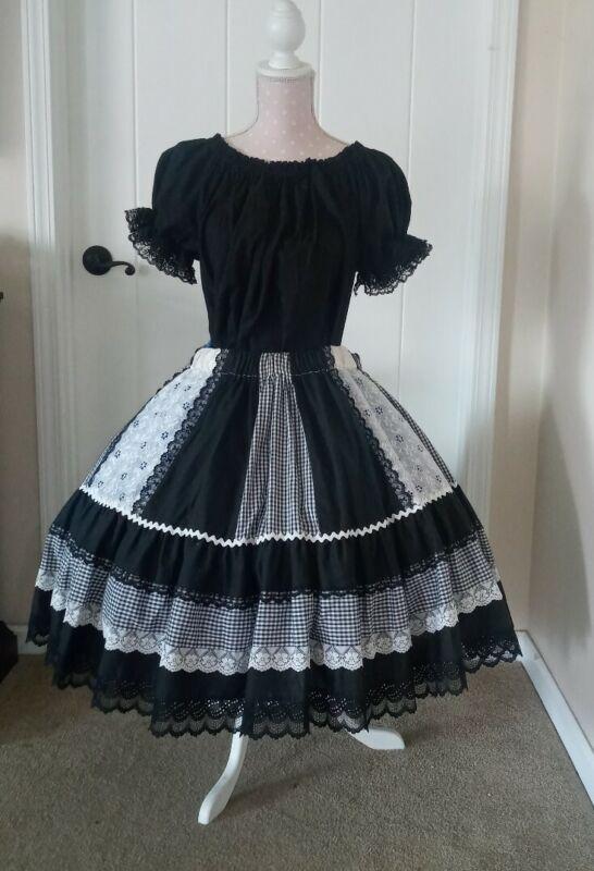 Square Dance Skirt & Blouse Black plaid & lace trim