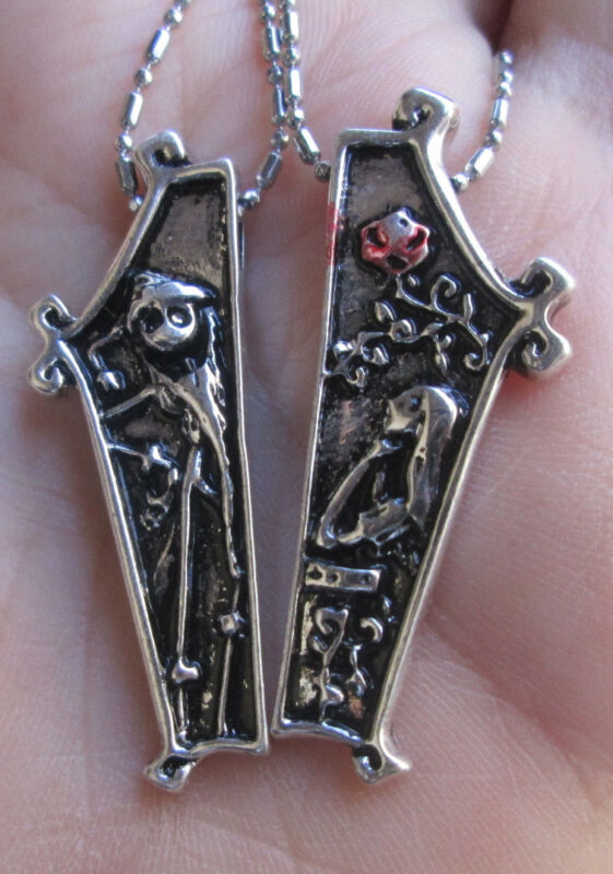 Jack and Sally with Rose Nightmare Before Christmas Necklace