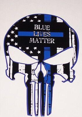 Blue Lives Matter Police SKULL American Flag Window Decal Decals Sticker Truck