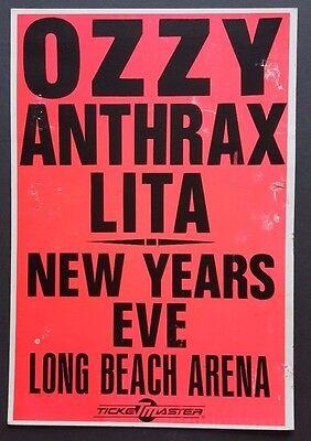 OZZY OSBOURNE /ANTHRAX 1988 Vintage Promo Concert Poster Mettalica BLACK SABBATH