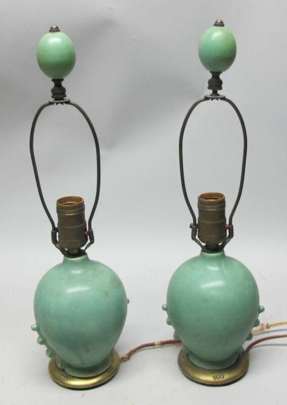 Fine TECO-STYLE Arts & Crafts Matte Green Art Pottery Lamps  c. 1920  antique