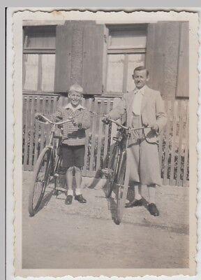 (F24184) Orig. Foto Mann u. Junge m. Fahrrad, Knickerbocker 1930er