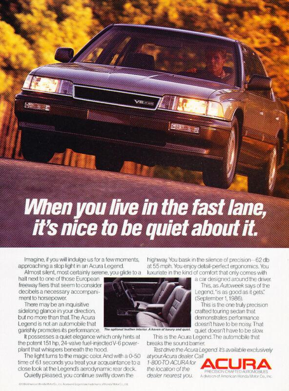 1987 Acura Legend Sedan - fast lane - Classic Vintage Advertisement Ad H32
