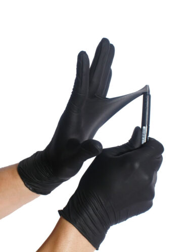 BLACK Nitrile Gloves ULTRA DURABLE (S M L XL) Powder free 50 / 100 / 1000 / Case