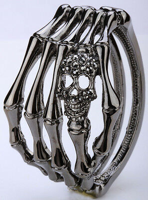 Skull skeleton hand bangle bracelet women biker bling fashion jewelry gifts QD08 - Hand Skeleton