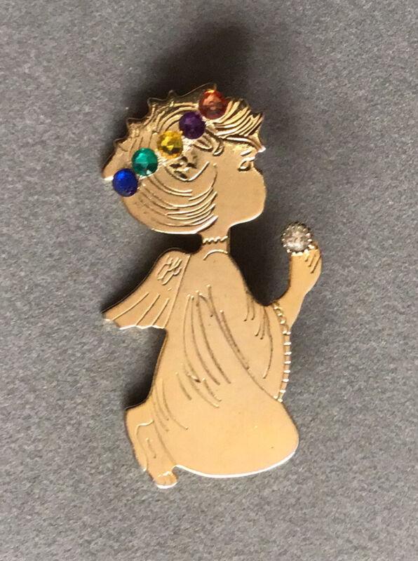 Vintage Gold Tone Kneeling Angel Christmas Brooch Mixed Rhinestone Halo 101120