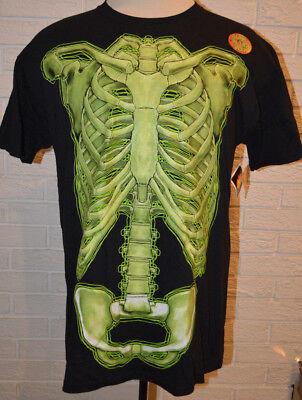 Men's Halloween Skeleton Glow Bones Short Sleeve Black T-Shirt Top Sizes -