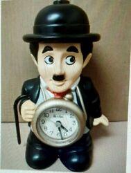 Charlie Chaplin Clock, vintage,  8 tall, with Talking Alarm