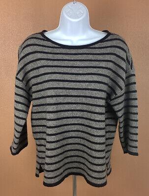 EILEEN FISHER Women's 3/4 Sleeve Wool Gray Black Striped Sweater Size PM