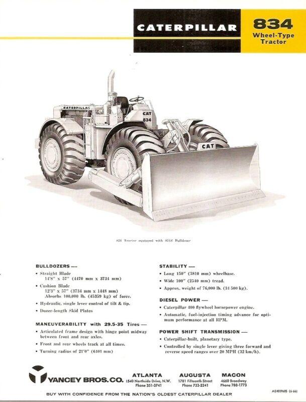 Equipment Brochure - Caterpillar - 834 C S - Tractor Bulldozer - 1966 (EB621)