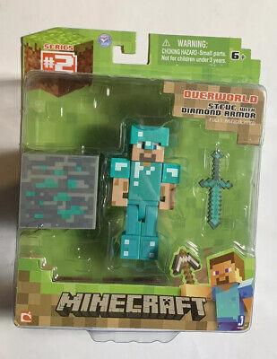 2014 Minecraft Overworld Steve Diamond Armor Armour Figure Series 3 New Sealed