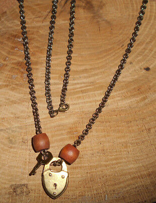 """27"""" Necklace of Lock & Key & 2 Wooden Beads on Bronze Chain"""