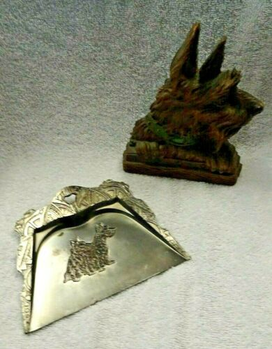 Scotty Scottie Dog Syrocowood Card Holder And Metal Crumb Pan