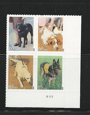 2012 4604-4607 DOGS AT WORK BLOCK OF 4 65 STAMPS MNH