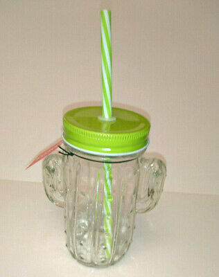 CACTUS SHAPE MASON DRINKING JAR with HARD PLASTIC STRAW Green White 2 HANDLES - Plastic Mason Jars With Handles