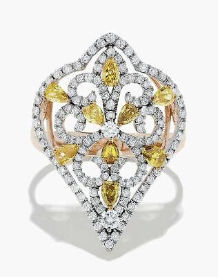1.90ct Diamante Redondo Natural 14K Sólido Rosa Oro Amarillo Topacio Bodas Ring