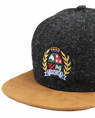 Agora Harris Tweed Crest 6 Panel Cap fleck wool 5 hat NEW