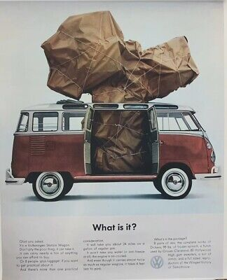 """Volkswagen Poster Bus - What Is It - Vintage Poster Print Ad Reprint 16""""x20"""""""