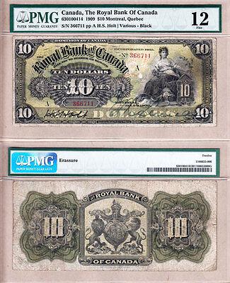 Scarce 1909  10 Royal Bank Of Canada  Black Frame  630 10 04 14  Pmg Fine12